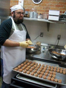 Ryan making meatballs on the first day in Ypsilanti, April 2011